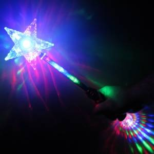 Image shows Glow Company Flashing Star Wand FLASHSTARWANDSML